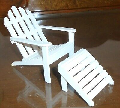 Miniature Doll House Furniture White Adirondack Chair And Foot Stool 2 Pieces