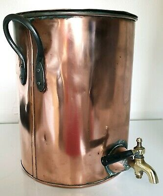 Victorian Antique copper kitchen stock pot water urn makers mark stamp