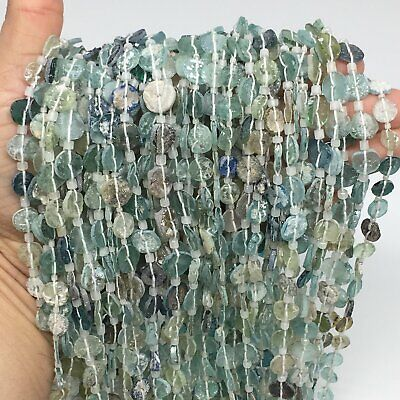"1 Strand, 3mm-10mm,15"" Ancient Round Thin Roman Glass Beads Strand,BN108"