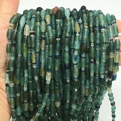"1 Strand, 2mm-11mm,15"" Ancient Tube/Saucer Roman Glass Beads Strand,BN106"