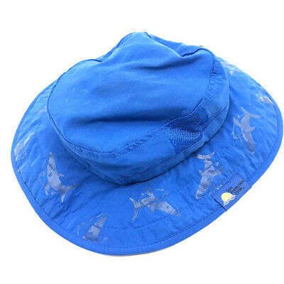 7c76b2ae255f7 Sun Protection Zone Child Safari Hat Boys One Size Sharks Print UPF 50+ Blue