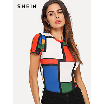 3725e124a87a5 SHEIN Geometric Print Color Block Top Multicolor Short Sleeve Round Neck  Tees