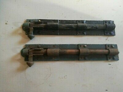 2 x Old shabby rusty gate bolts