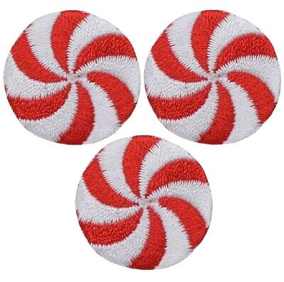 Peppermint Candy Applique Patch - Christmas Mint Treat (3-Pack, Small, Iron on)