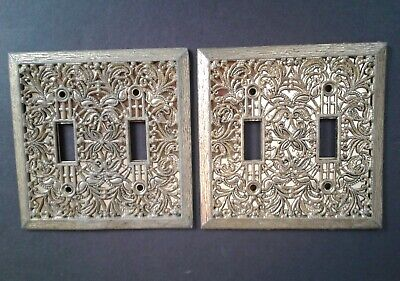 Vintage Metal Filigree Double Light Switch Covers Plates 4 Available Antique