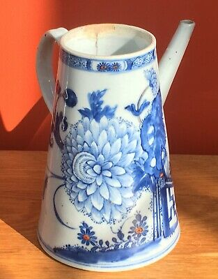 Antique 18th Century Qing Blue and White Chinese Export Porcelain Chocolate Pot