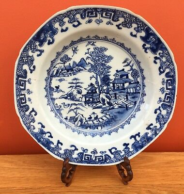 Antique 18th Century Qing Chinese Export Porcelain Blue and White Plate / Bowl