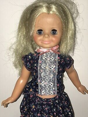 """Vintage 1970s IDEAL VELVET DOLL Skirt Top Outfit Blonde Crissy 15"""" Growing Hair"""