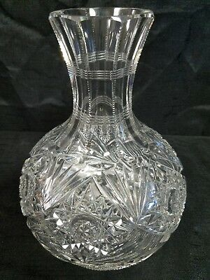 Antique American Brilliant Cut Leaded Glass Crystal Water Wine Carafe Decanter