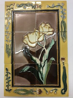Beautiful Tubelined Tile Backsplash Mural Handmade 18x12 LILY Splashback