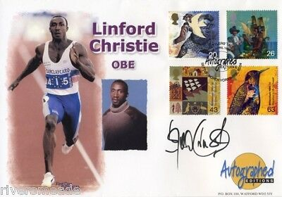 1999 Settlers' Tales Autographed Editions fdc SIGNED Linford Christie