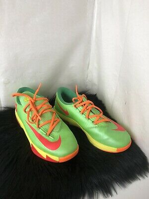 best service 3ca72 02fe9 Nike Kd VI 6 Gs Candy Edition Lime Red Orange 599477-300 Size 7Y