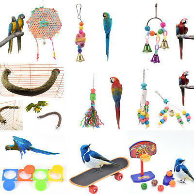bird parrot cage hanging swing chew toy cockatiel budgie wooden stand perches JH