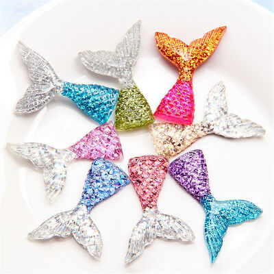 6* Mermaid Tail Flatback Resin Cabochon For Phone Decor Scrapbook Embellishme JH