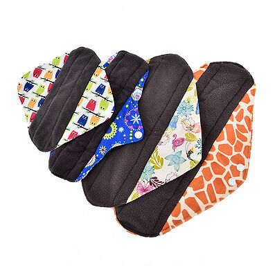 S/M/L/XL Small Panty Liners Charcoal Bamboo Reusable Cloth Mama Menstrual Pad JH