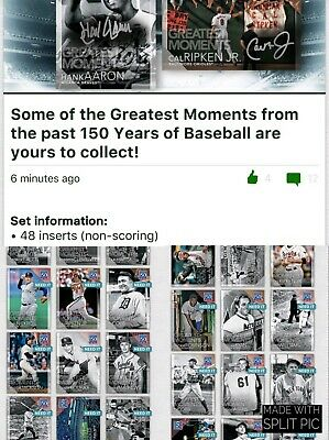 Topps BUNT MLB  Digital Card 150 Years of Baseball Greatest Moments Set of 48