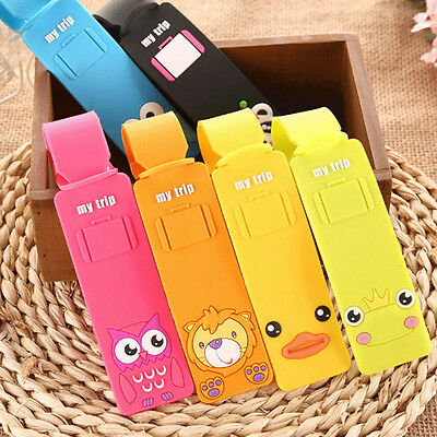 Travel Luggage Tag Suitcase Baggage Bag Name Address ID Tag Holder Silicone JH