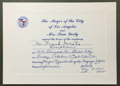 Frank Hirata Invitation by Mayor Sam Yorty Sugito Nagoya Japan