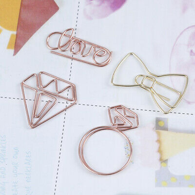 Cartoon Rose Gold Paper Clip Metal Bookmark Memo Clips School Office Supplies JH