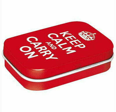 Retro Embossed Tin Metal Pill Box KEEP CALM and CARRY ON w Mints 6x4cm London UK