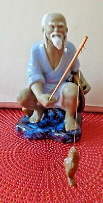 Oriental Chinese Mudman Figurine 'Fisherman with Rod & Fish '  Ornament