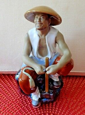 "Oriental Chinese Mudman Figurine ""Worker with a large hammer""  Ornament"