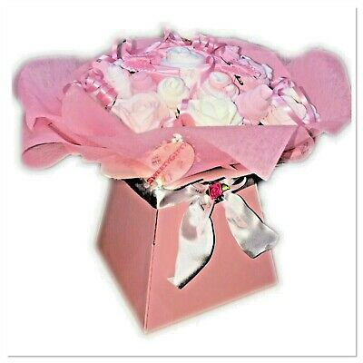 Personalised Baby Girl Clothes Bouquet Gift New Baby Shower Hamper Nappy Cake