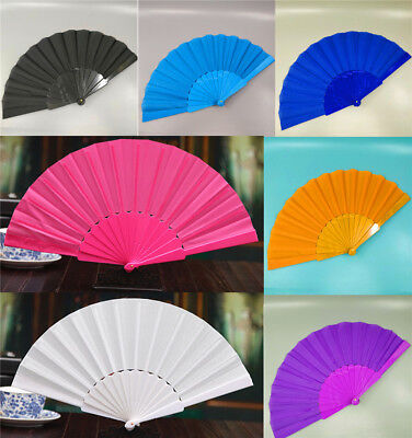 1PC Chinese Style Plastic Fabric Fold Hand Held Fan Dance Party Wedding Gi JH