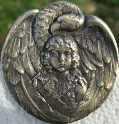 "1940s French White~""CHILD W/EAGLE BIRDS WINGS AROUND HIM"" Vintage Antique Button"