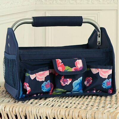 Everything Mary Navy Floral Craft Tool Box with Metal Handle - New & Sealed