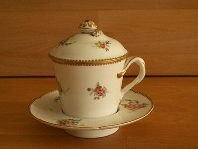 18Th Century Rue Thiroux French Porcelain Chocolate Cup Cover And Saucer