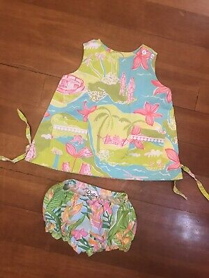 7100a327045fe5 Lily Pultzer Baby Girls 6-12 Months Summer Dress And Diaper Cover Pink Green