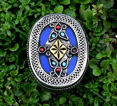 Turkmen Ring Tribal Carve Jewelry Afghan Kuchi Ethnic Gilt Silver Gypsy Boho