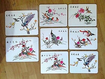8x Vintage Oriental Japanese Placemats Set Birds Floral Foam Non Slip Insulation