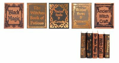 Dollhouse Miniature Set of 5 Witch Reference Hardcover Books (Set 1)
