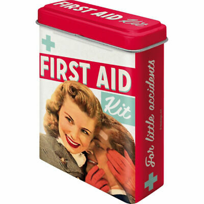 Retro Band Aid Tin FIRST AID KIT w/ plasters Bandages Vintage Pharmacy Couples