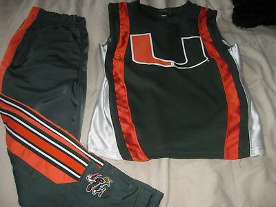 5956fa71ef4 2pc SET BOYS YOUTH UNIVERSITY OF MIAMI HURRICANES JERSEY NIKE PANTS OUTFIT  Sz 4