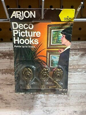 NOS Vintage set of 3 Arjon Brass Deco Picture Hooks Painting Hanger USA MADE