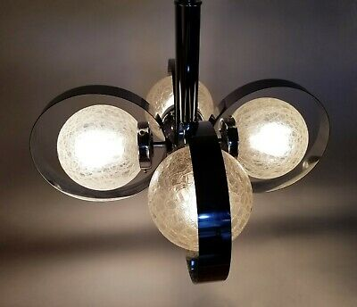Mid Century Modern Crackled Globes Sciolari Chrome Chandelier Space Age Light
