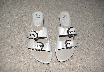 58007d6571a4 NWOB RENE by ARA Germany Leather White Pearl Bakle Sandals Slides Mules Sz  40  9