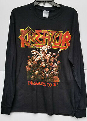 Kreator Pleasure to Kill Black Long Sleeve M Medium T-Shirt Graphic Tee New