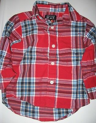 Childrens Place-Baby Size 12-18 Months-Red Plaid Holiday Christmas Dress Shirt