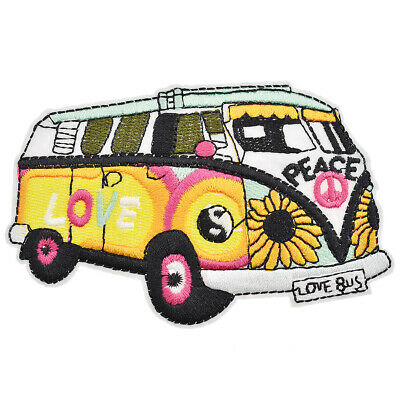 Hippie Love Peace Bus Patches Sew on Iron on  Embroidery Appliques Badges DIY