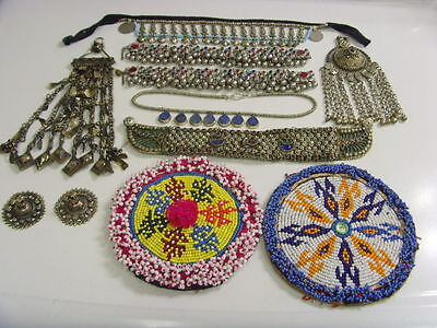 vintage antique kuchi tribal wedding jewelry dowry large lot belly dance fv1275