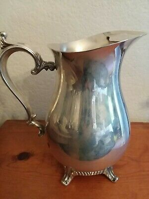 Vintage Antique Silver Pitcher Large Ornate Footed Beverage Excellent Beautiful