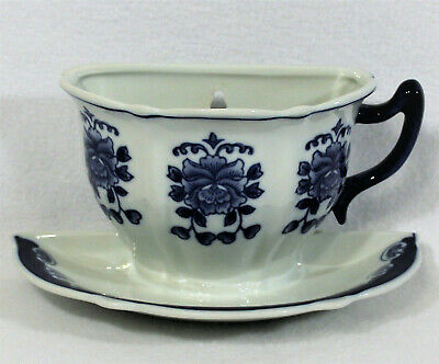 French Country Shabby Cottage Chic Wall Decor Kitchen Ceramic Blue White Tea Cup