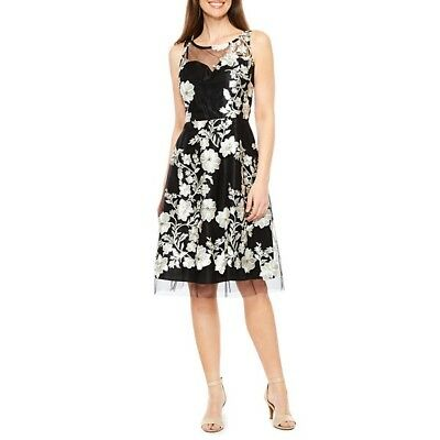 1edce1081 New JCPenney Studio 1 Sleeveless Embroidered Floral Fit and Flare Dress  Size 10