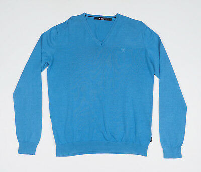 Tiger of Sweden Mens Blue long sleeved V-neck Silk/Cotton Sweater Size Large