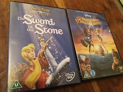 UK Disney DVD Bundle The Sword In The Stone & Tinkerbell Pirate Fairy VGC