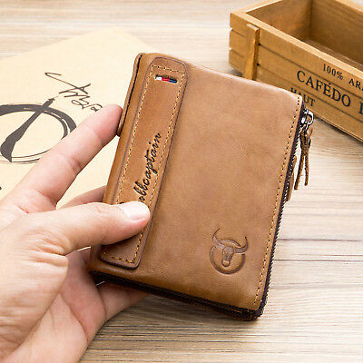 Mens RFID Real Leather Wallet With Zipper Pocket Coin Pouch & ID Holder Purse UK
